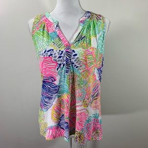 Lilly Pulitzer printed leaves colorful Henly Tank